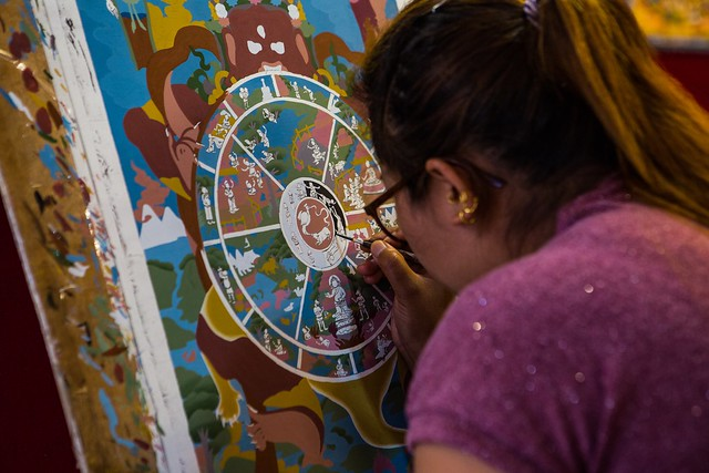 Painting A Thangka Painting In Patan, Nepal