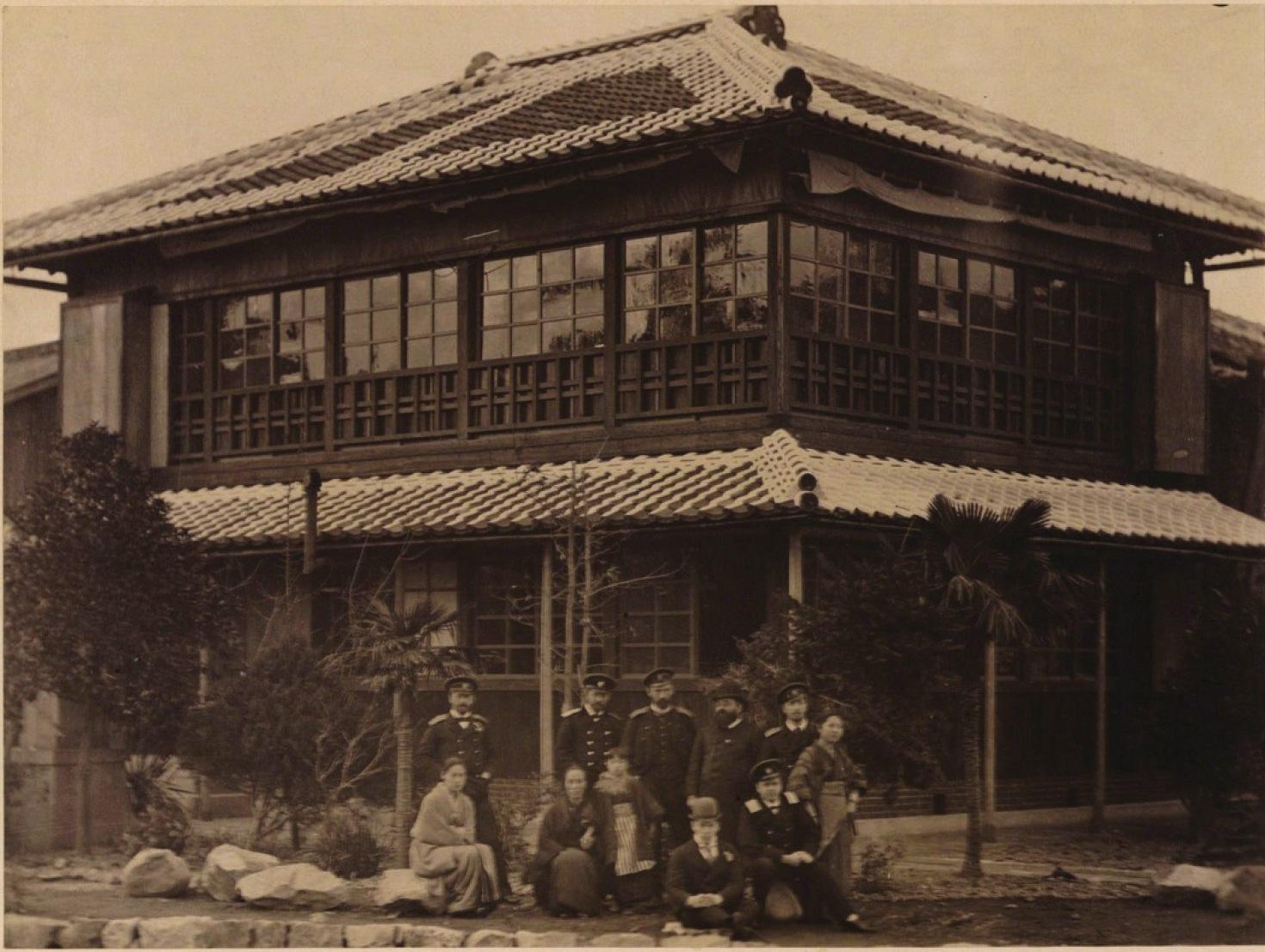 03. 1891. Нагасаки. Чайный дом Амати-сан, где Цесаревич провел целый вечер играя на бильярде