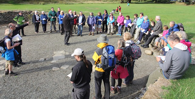 Pilgrims gather at Glendalough's Upper Lake for a short service at the end of the Glendalough Camino last year.