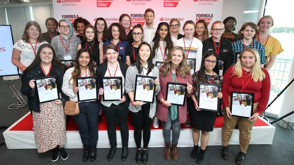 Santander STEMships recipients with 2009 F1 world champion Jenson Button