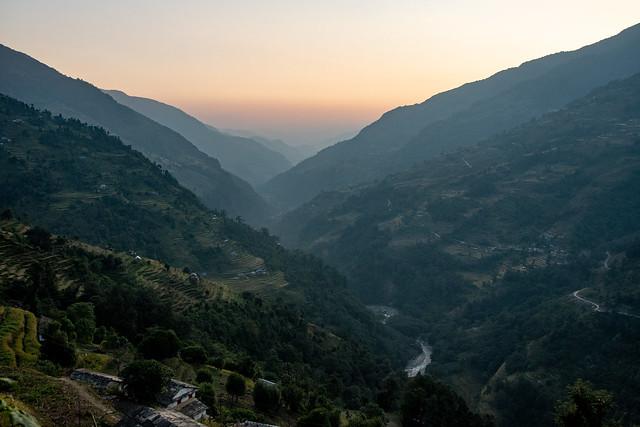 Fin de journée sur le South Annapurna depuis Landruk