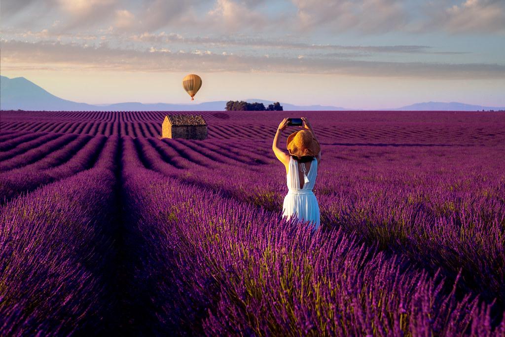 Asian girl travel in lavender field