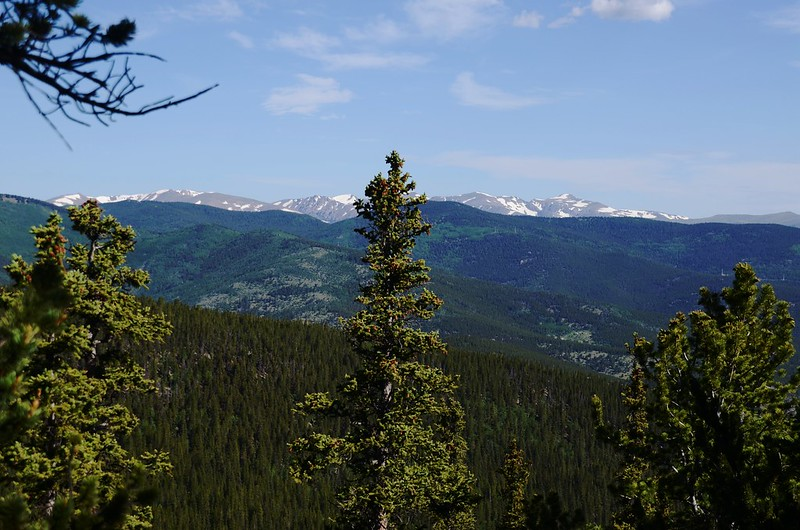 View of the Continental Divide from the trail down to the Chicago Creek Basin