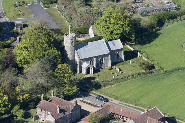 Saint Michael & All Angels church in Sidestrand - Norfolk UK aerial