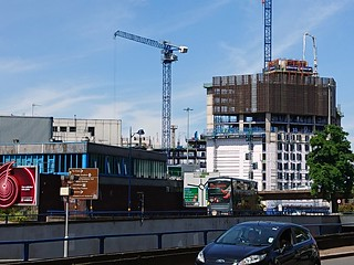 Lancaster Gate - Student accommodation construction site from James Watt Queensway