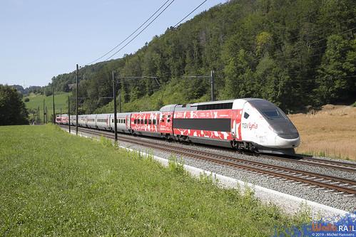 4414 . Lyria . TGV 9213 ( Fête des Vignerons 2019 ) Tecknau . 17.07.19.