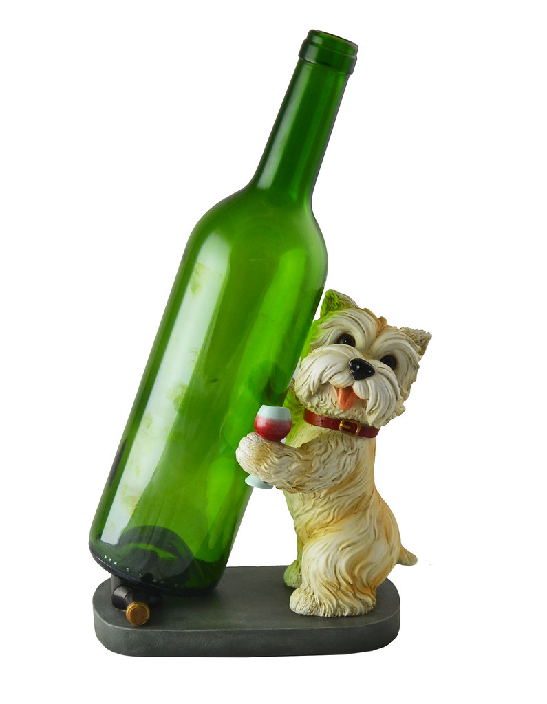 Standing Yorkie Wine Bottle Holder