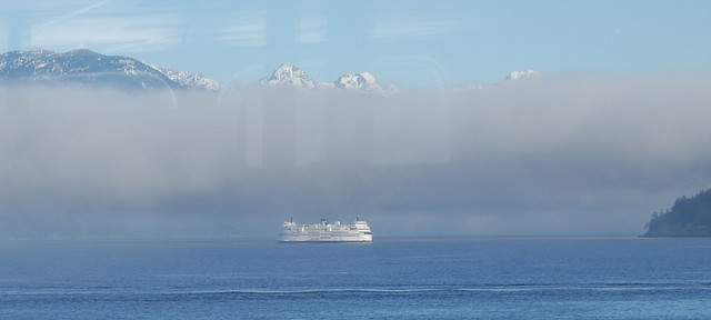 HORSESHOE BAY -  FOG ROLLING IN FROM HOWE SOUND...IT WILL BE A FOGGY CROSSING TO NANAIMO,  BC.