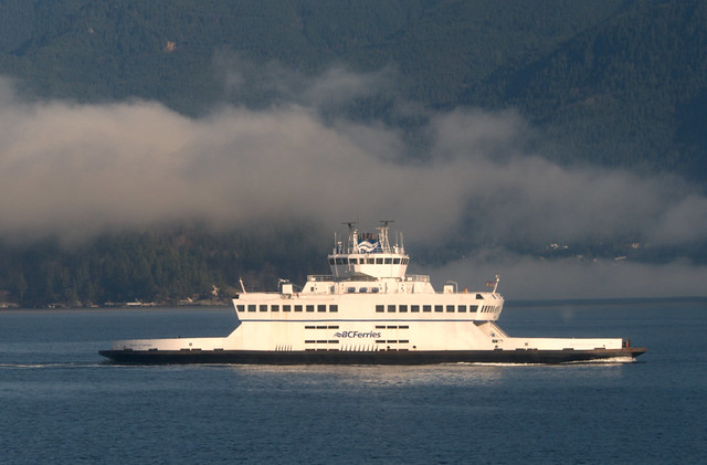 HORSESHOE BAY -  FOG ROLLING IN FROM HOWE SOUND...IT WILL BE A FOGGY CROSSING.  BC.