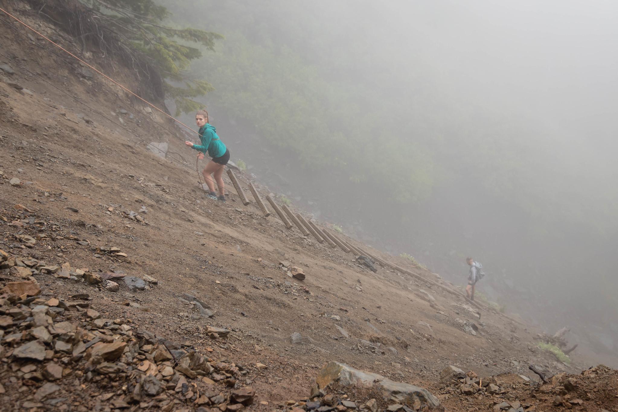 Landslide with rope and ladder