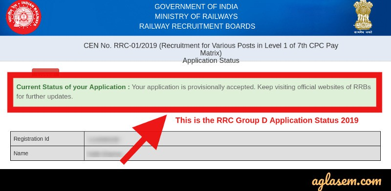 RRC Group D Application Status 2019 - Final Status for