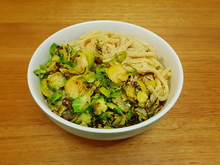 Cheesy Udon Noodles with Brussels Sprouts