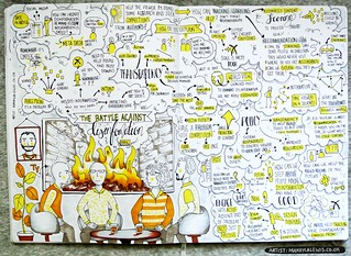 Sketchnotes from BBC Machine Learning Fireside Chats Presents: The Battle Against Disinformation (Drawn by Dr Makayla Lewis)