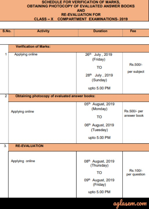 CBSE 10th Compartment Revaluation 2019 Result