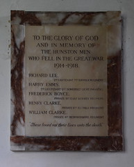 in memory of the Hunston men who fell in the Great War