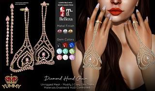 (Yummy) Diamond Hand Chain & Earrings for Uber