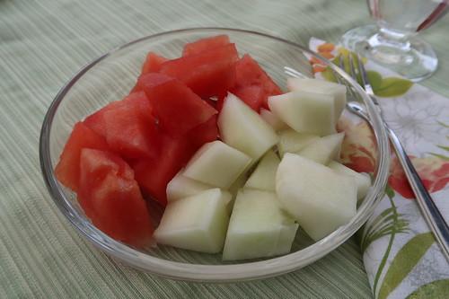 Wassermelone und Honigmelone (Sorte: Snowball)