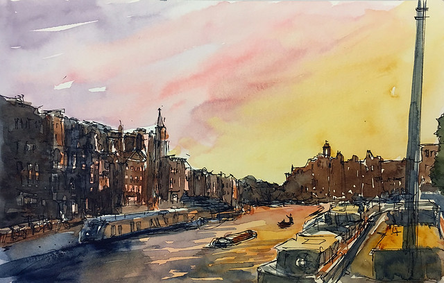 190724 Amstel River at sunset - Amsterdam, Netherlands
