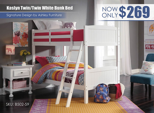 Kaslyn Twin over Twin White Bunk Bed_B502-59