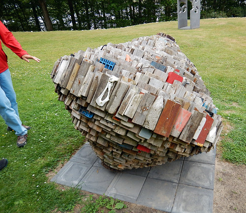 Stacked and weathered wood at the Sculpture Park (KunstCentret Silkeborg Bad) in Silkeborg, Denmark