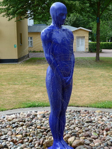 Blue person fountain which our friend Mike entitled 'Busting for a pee' at the Sculpture Park (KunstCentret Silkeborg Bad) in Silkeborg, Denmark