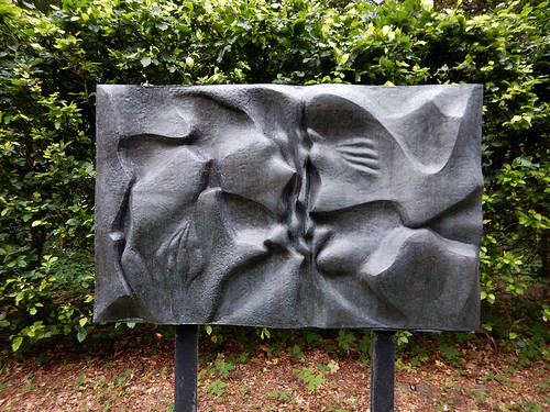 Abstract kiss sculpture at the Sculpture Park (KunstCentret Silkeborg Bad) in Silkeborg, Denmark
