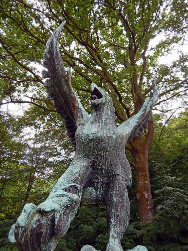 Strutting eagle sculpture at the Sculpture Park (KunstCentret Silkeborg Bad) in Silkeborg, Denmark