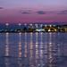 Sunset hour at the harbor of Nea Artaki on the island of Euboea on July 23, 2019
