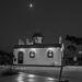 The chappel of the harbor of Nea Artaki at moonlight on July 13, 2019