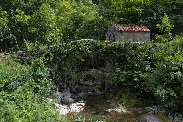 Ancient bridge crossing Río Duje at Tielve, Cantabria Asturias