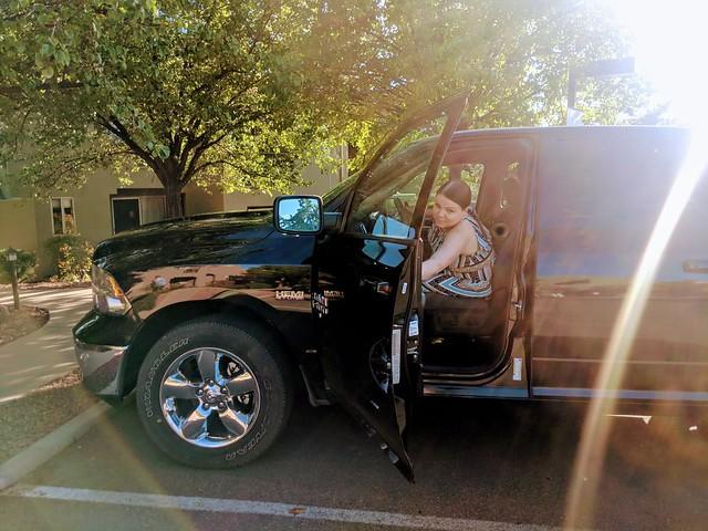 Jenni in a truck