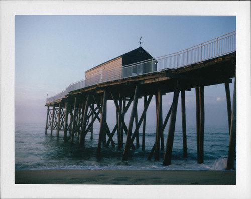 instantfilm pier beach ocean polaroidland250 film packfilm belmar newjersey unitedstates thebluehour bluehour sunrise