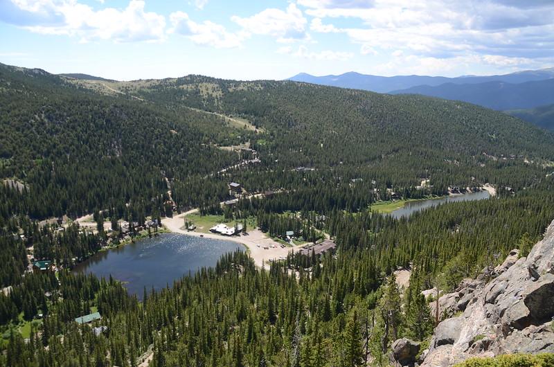 Looking down at Silver Lake & Lake Quivira from Fox Mountain summit