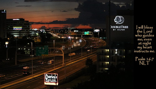 westshore tampa tampabay hillsboroughcounty interstate highway i275 275 freeway road street buildings skyscrapers hotel view skyline architecture traffic cars travel transportation sunset evening twilight dusk night dark lights clouds weather darkclouds signs doubletree fourpointssheraton centralflorida florida fl fla us usa unitedstates america gulfcoast jesus christ god bible scripture verse landscape city urban