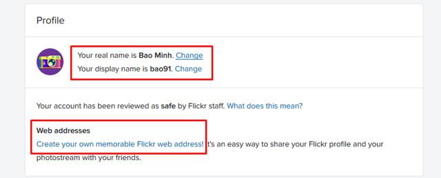 thay đổi thông tin profile flick