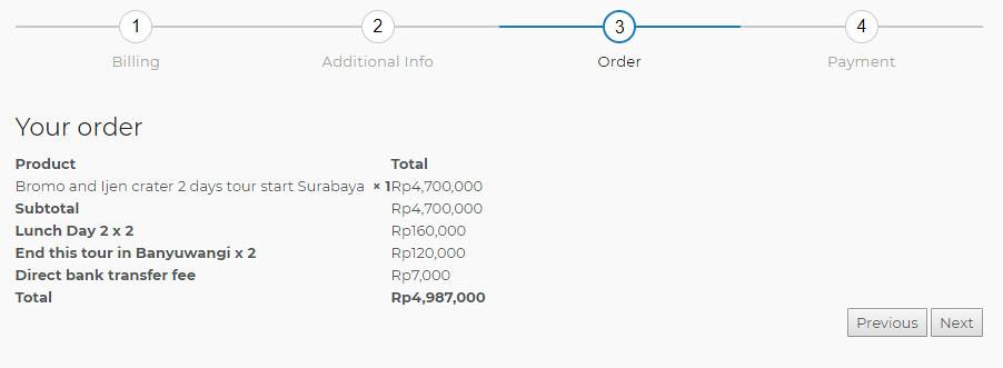 Order Details - Melampa Tour Indonesia