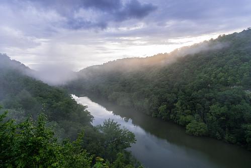 bigsouthforknrra cumberlandriver kentucky mccrearycounty bluehour fog sunset