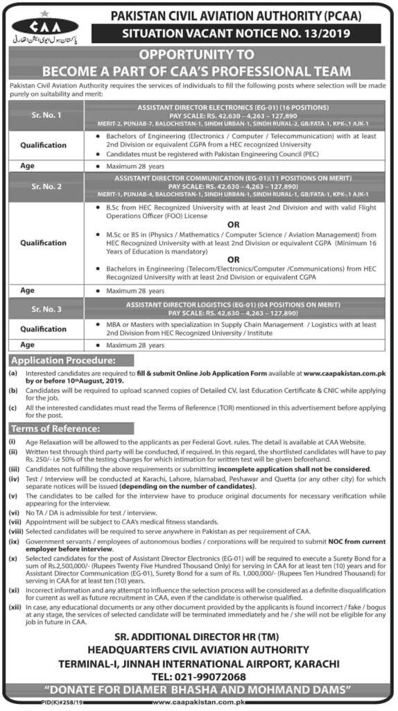 Civil Aviation Authority Jobs 2019 CAA Notice No 13 2019 A