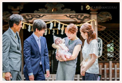 初宮参り 深川神社(愛知県瀬戸市) 家族の写真