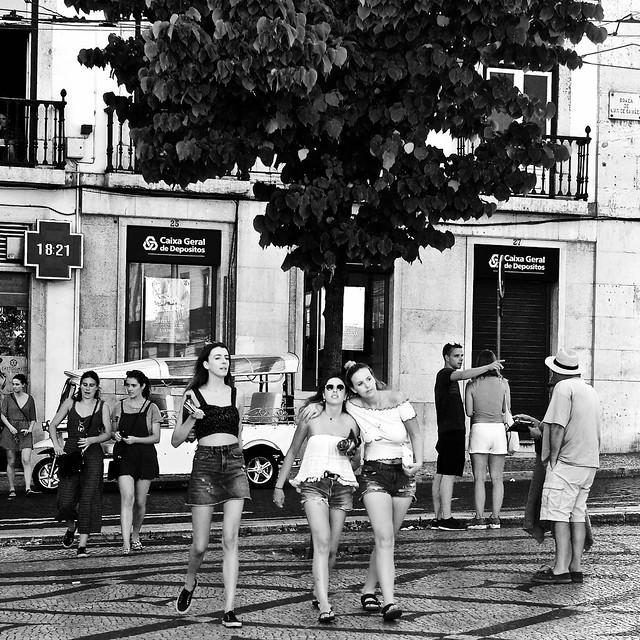 Tourists girls walking around