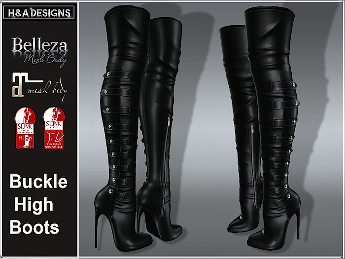 [H&A Designs]-Buckle High Boots Black