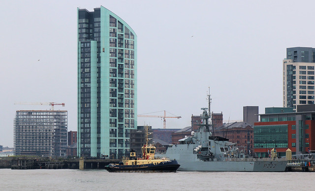 23rd June 2019. Svitzer Sarah and offshore patrol vessel P222 Forth on the River Mersey at the Pier Head, Liverpool