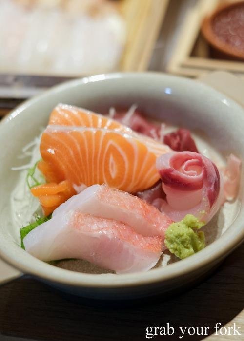 Sashimi bowl of alfonsino, salmon, kingfish and tuna, part of our omakase at Jizakana in Cammeray, Sydney