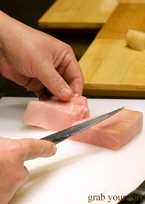 Slicing ootoro tuna belly for our omakase at Jizakana in Cammeray, Sydney