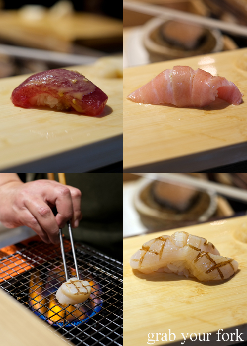 Tuna with sesame sauce, jabara ootoro tuna upper belly and aburi Hokkaido scallop for our omakase at Jizakana in Cammeray, Sydney