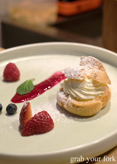 Choux pastry cream puff served during our omakase at Jizakana in Cammeray, Sydney