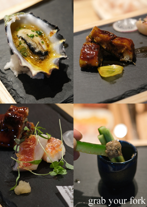 Sydney rock oyster with ponzu, unagi eel, imperador and kani miso dip with cucumber served for our omakase at Jizakana in Cammeray, Sydney