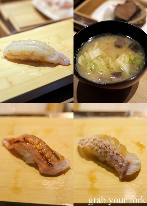Raw scampi nigiri sushi, miso soup, aburi imperador and aburi Kumamoto snapper for our omakase at Jizakana in Cammeray, Sydney