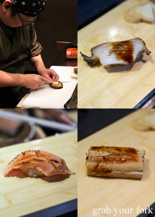 Abalone, aburi Mt Cook saikyo salmon and anago sea eel served during our omakase at Jizakana in Cammeray, Sydney