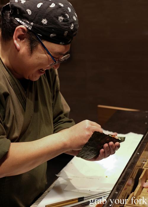 Chef Hideaki Fukada using special Kumamoto nori for our omakase at Jizakana in Cammeray, Sydney